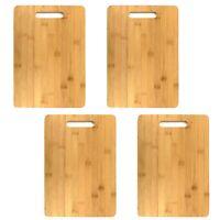 4 Stück Schneidebrett Bambus Küchenbrett aus Holz Servier Brettchen 36x25cm