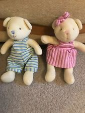Two Walton &Co Knitted Teddies One With Pink Clothing The Other Blue Height 11