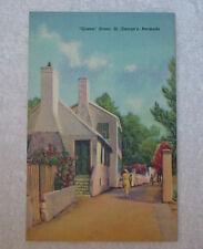 Vintage 1940s Linen Queen Street St George's Bermuda Postcard Exc Unposted Cond