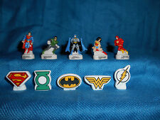 JUSTICE LEAGUE Figurines & Logos Set of 10 Mini Porcelain Figures French FEVES
