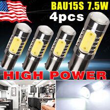 4x White BAU15S 1156PY High Power 7.5W Turn Signal Tail Brake Stop LED Lights