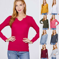 S-L Women's Notched Neck Thermal Shirt Top Stretch Cotton Long Sleeve Basic Knit