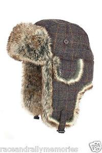 Braune Country Tweed Wollmischung Kunstpelz Piloten Trapper Fyling Winter Hut