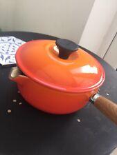 Vintage Le Creuset Cast Iron Saucepan Pot Volcanic Orange - 18cm VGC Handy Size