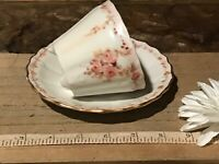 Antique Vintage Footed Cup w/ Saucer Hand Painted Pink Floral w/ Gold Signed
