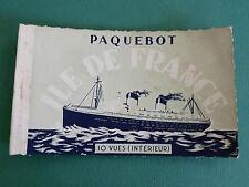CARNET 10 CPA PHOTOS 1957 PAQUEBOT ILE DE FRANCE LE HAVRE Cie TRANSATLANTIQUE
