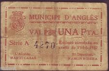 BILLETE LOCAL - ANGLÉS -MUNICIPI D'ANGLES. 1 PTA. SERIE A. BC-