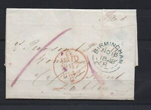 Lot:39089  GB QV  Entire cover  stampless Birmingham 16 No 1848to Dublin