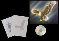 Airbrush Schablone Step by Step / Stencil / Tiere / 437 angreifender Adler &CD