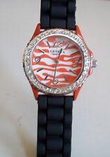 Fashion Zebra Jelly Silicone Rhinestone Girls Ladies Womens Quartz Wrist Watch
