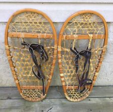 Pair Of Vintage Gander MountaiSnowshoes With Leather Bindings In Great Condition