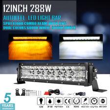 12 inch 288W Amber/White/Strobe LED Work Light Bar Combo Offroad Driving Lamp 10