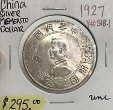 1927 China Memento .900 Silver Dollar Beautiful purple Toning Y#318