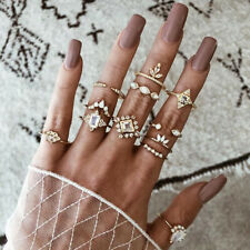 12Pcs/Set Retro Gold Plated Crystal Drop Ring Set Midi Finger Knuckle Rings