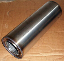 """57mm bore (2¼"""") 4"""" Round x 10"""" Long Universal Stainless steel exhaust silencer"""