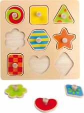 NEW WOODEN SHAPE PEG PUZZLE CHILDRENS JIGSAW 9 BRIGHT PAINTED SHAPES LEGLER
