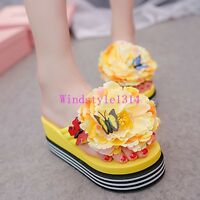 New Women Summer Beach Shoes Sandals Platform Flower Decor Holiday Wedge Heel sz