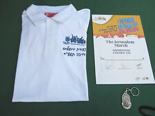 ISRAEL JERUSALEM MARCH - M POLO SHIRT W/ ORG. METAL MEDAL & CERTIFICATE ! NEW.