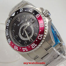43mm Bliger black dial sapphire crystal date GMT Mechanical automatic men watch