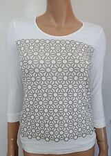 NWT JIL SANDER NAVY White Beige Geometric Print Cotton Blend Jersey Top XS