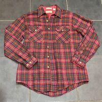Vintage St John's Bay Red Multi Check Plaid Tartan Flannel Long Sleeve Shirt (M)