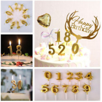 Number 0-9 Happy Birthday Fashion Cake Candles Gold Topper Decor Party Supplies
