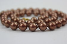"Shell Pearl Copper Colour Beads 8mm 22"" Hand Knotted 8 mm Copper Pearl Necklace"