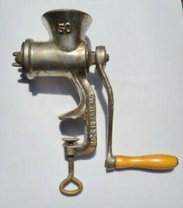 """Vintage Meat Grinder #50 Wood Handle ~ """"Made in England"""" No Manufacturer Mark"""