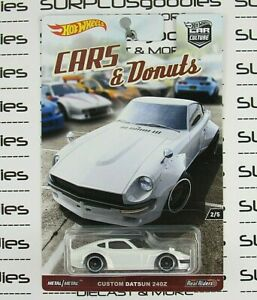 Hot Wheels 2017 Car Culture Cars & Donuts White DATSUN 240Z 240-Z w/Real Riders