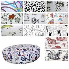Round Box Shape Cover*Off White Cotton Canvas Chair Seat Pad Cushion Case*AL3