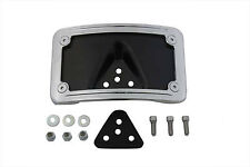 License Plate Bracket Curved Laydown Style Chrome Billet For Harley-Davidson