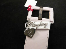 Playboy Wide Distressed Dusky Pink Striped Belt With Bunny Logo / Return Charm
