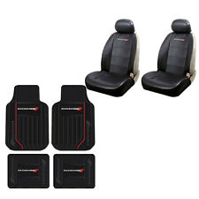 Brand New 8pc Dodge Elite Racing Stripes Rubber Floor Mats and Seat Covers Set