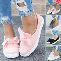Women Bowknot Slip On Flat Casual Shoes Pumps Comfy Ladies Trainers Loafers Size