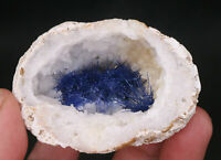 129g Very Rare NATURAL Clear Beautiful Blue Dumortierite Crystal hole Specimen