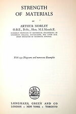 STRENGTH OF MATERIALS Book 4th ed  Morley 1954 RB96 engineers stresses vibration