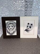 2 Vintage Rabindra Print Stock Cards Lion & Panda