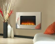 Wall Mounted Mirror Glass Electric Fire Fireplace Flicker Real Flame Slim Heater