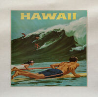 hawaii Green Surf Printed On Fabric Panel Make A Cushion Upholstery Craft