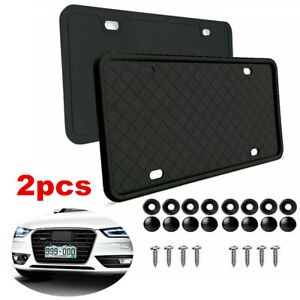 2pcs Universal Silicone License Plate Tag Holder Mounting Kit Front Rear Bracket