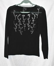 ITEMS Ladies Black Pullover Top Embellished with Ivy Design - Sz XL -  FREE SHIP