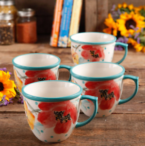 The Pioneer Woman 4-Piece 16-Ounce Coffee Cup Mugs Vintage Bloom Floral Cups Set