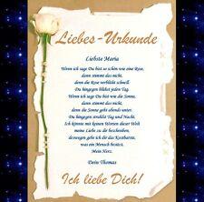 Ich LIEBE Dich Urkunde GESCHENK Jahrestag Hochzeitstag Valentinstag Valentin