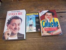 Lot de 3 livres Coluche / à coeur et à cris / pensées et anecdotes