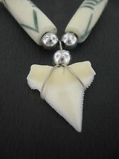 Shark tooth pendant long white bone surf beads cord necklace