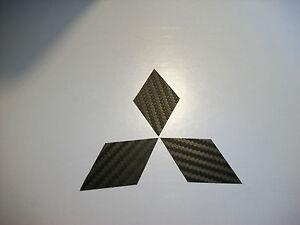 Carbon Fiber - Mitsubishi Grille Front & Rear emblem overlay DECALS
