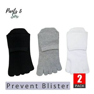 2 Pairs Womens Toe Socks Premium Cotton Ankle Lady Five Finger Socks Black White