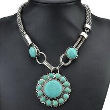 Multi Nature Turquoise VTG Tibet Silver Chain Bib Statement Necklace LCLT