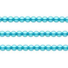 Round Glass Pearls Beads. Aqua Blue 8mm 16 Inch Strand