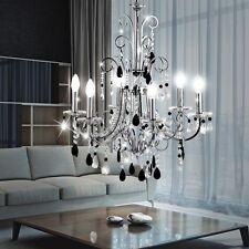 Luxus Hänge Lampe Kronleuchter Wohnraum Chrom Kristall Pendel Decken Leuchte E14